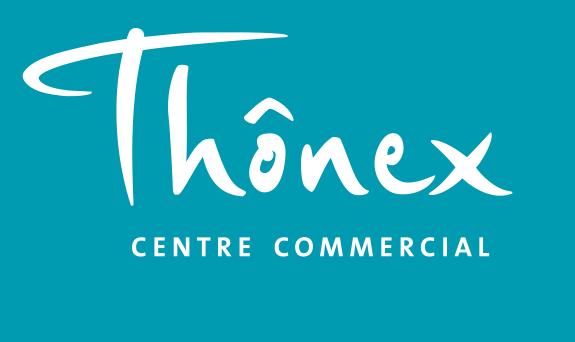logo centre commercial thonex fond bleu