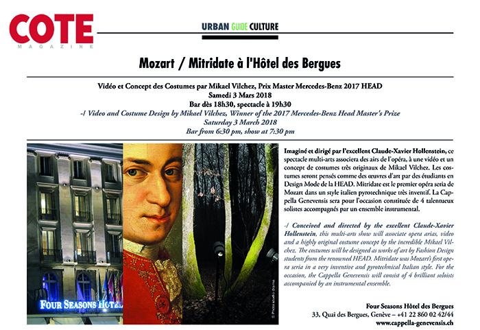 Article sur Mozart Mitridate paru dans Cote Magazine (février-mars 2018)